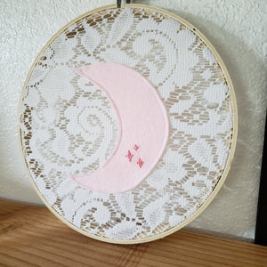 Embroidered Wall Hanging: Pink Moon