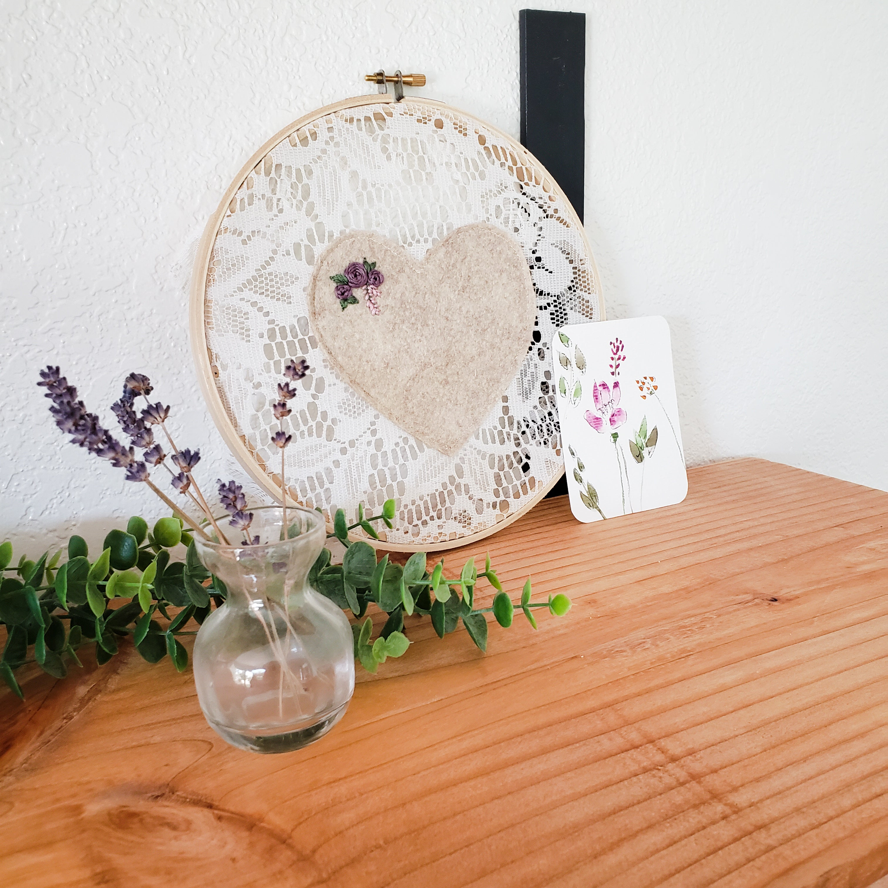 Embroidered Wall Hanging: Neutral Heart