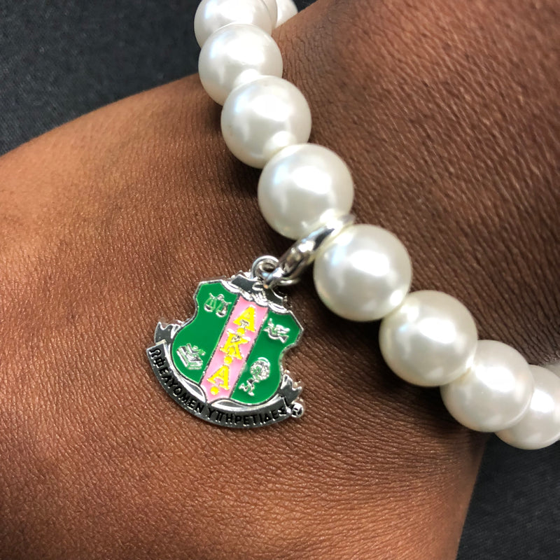 Pearl Bracelet with Shield Charm - AKA