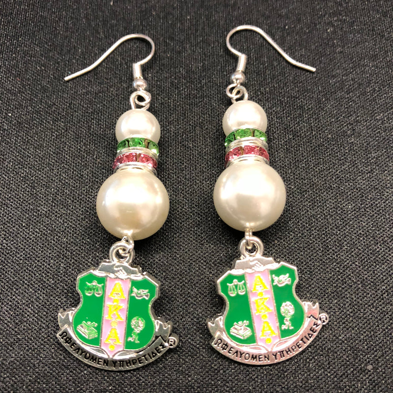 Pearl Earrings with Shield Charm - AKA