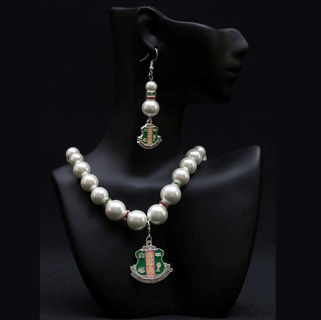 Pearl Necklace with Shield Charm - AKA