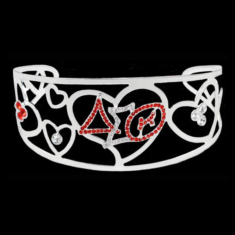 Crystal Filigree Heart Bangle Bracelet - Delta