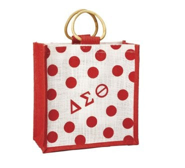 Mini Polka Dot Jute Bag - Delta