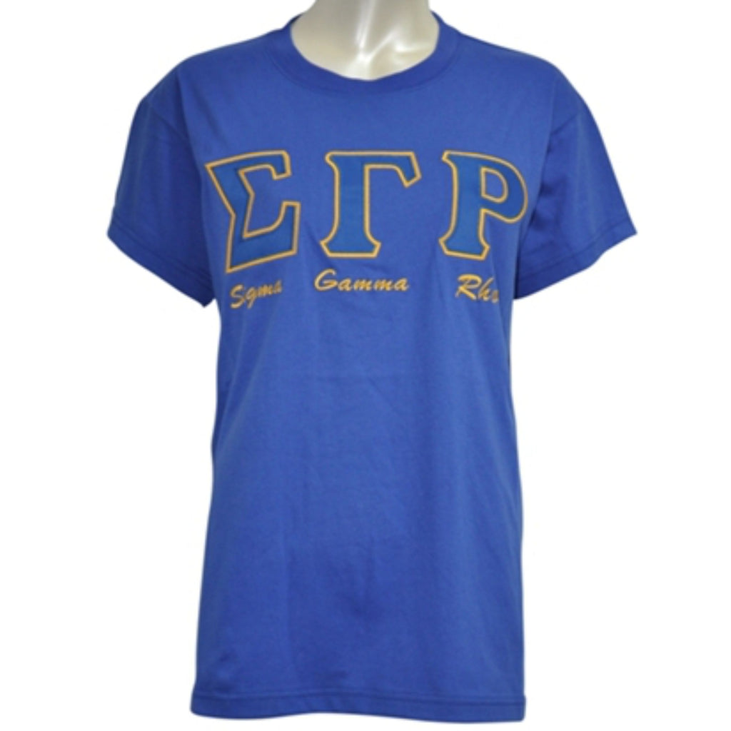SGRho Embroidered Letters with script T-shirt BD