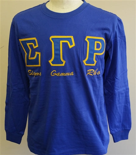 Embroidered Letters with script T-shirt BD Long Sleeves - SGRho