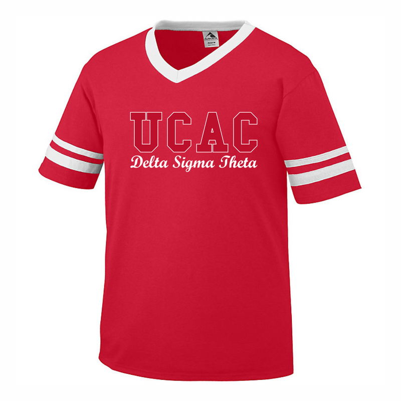 Delta UCAC Embroidered Letters with script V-neck Stripe T-shirt