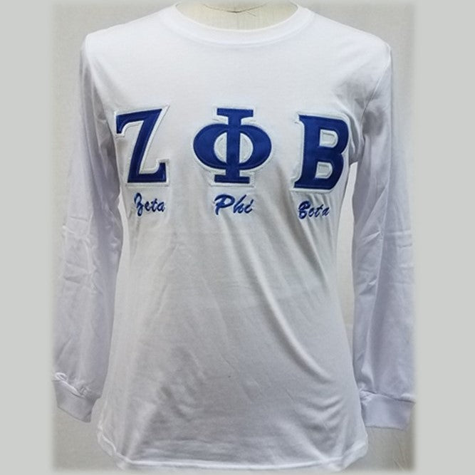 Zeta Embroidered Letters with script T-shirt BD Long Sleeves