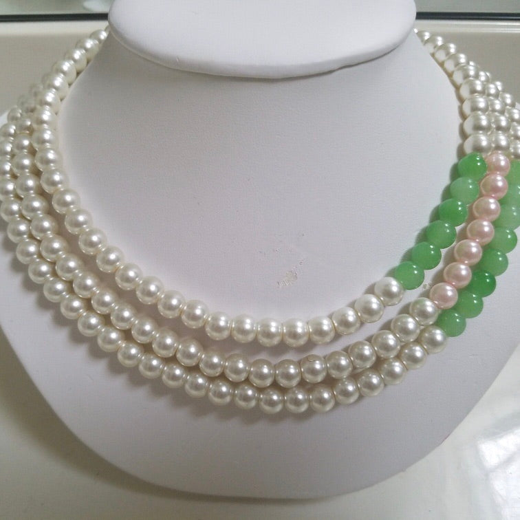 Three Strands Pearls with touch of Pink and Green with Pearl Earrings