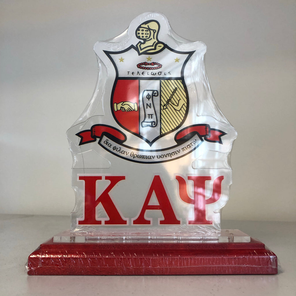 Acrylic Desk Top Crest with Wooden Base - Kappa