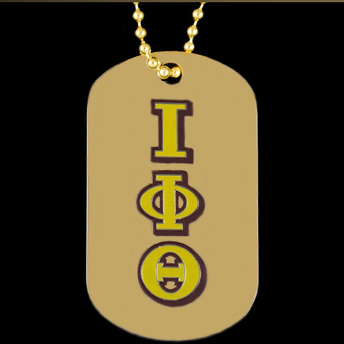 Iota Gold Double-Sided Dog-tag with Chain