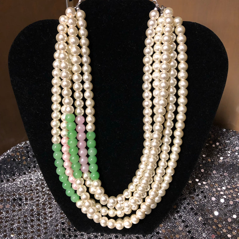 Five Strands Pearls with touch of Pink and Green with Pearl Earrings