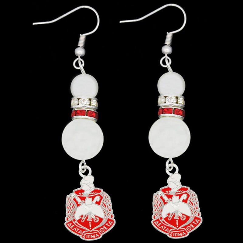 Pearl Earrings with Shield Charm - Delta