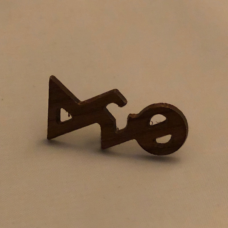 Delta Small Wood Greek Letters Lapel Pin