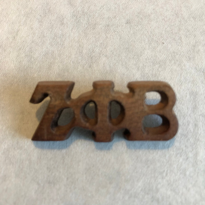 Zeta Small Wood Greek Letters Lapel Pin