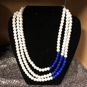 Three Strands Pearls with touch of Royal