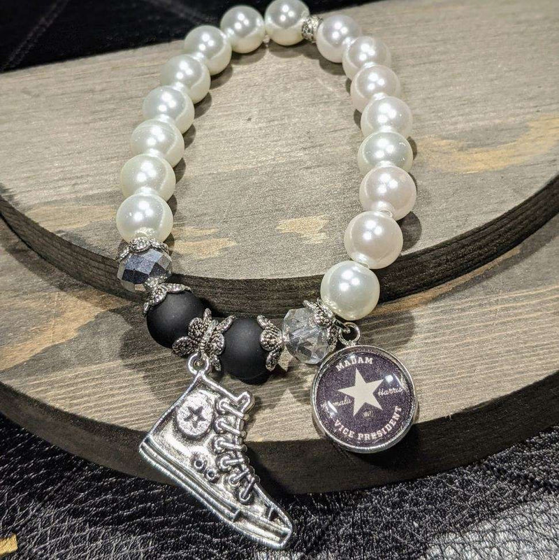 Black Chucks and Pearls Bracelet