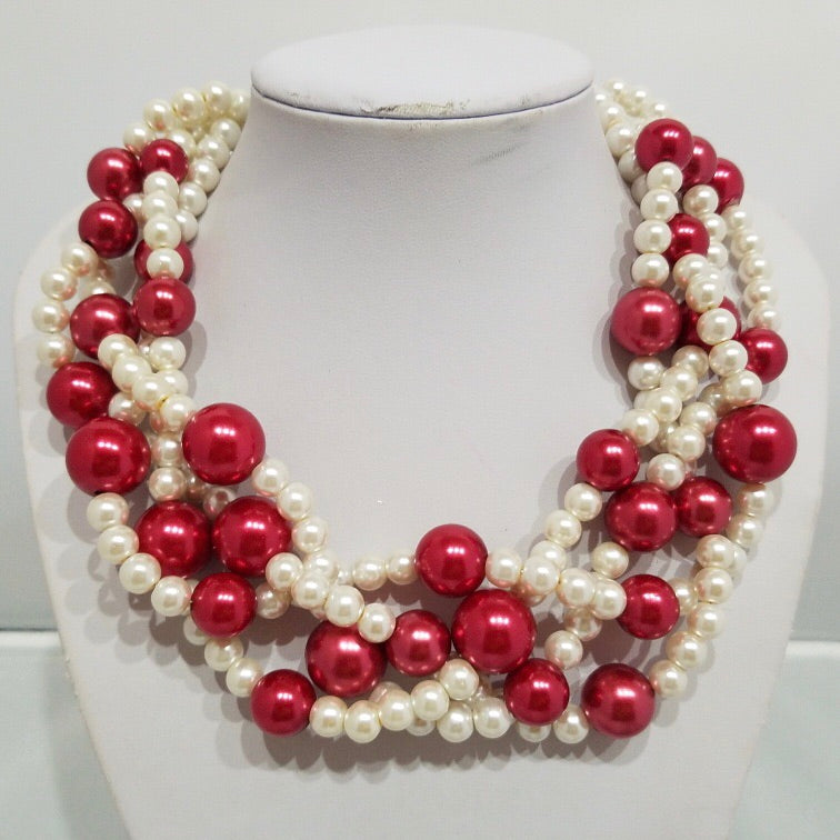 Pearls of Crimson 4 Twist with matching Earrings