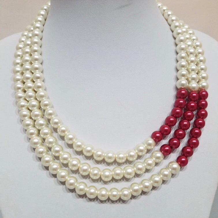 Three Strands Pearls with touch of Crimson with Pearl Earrings