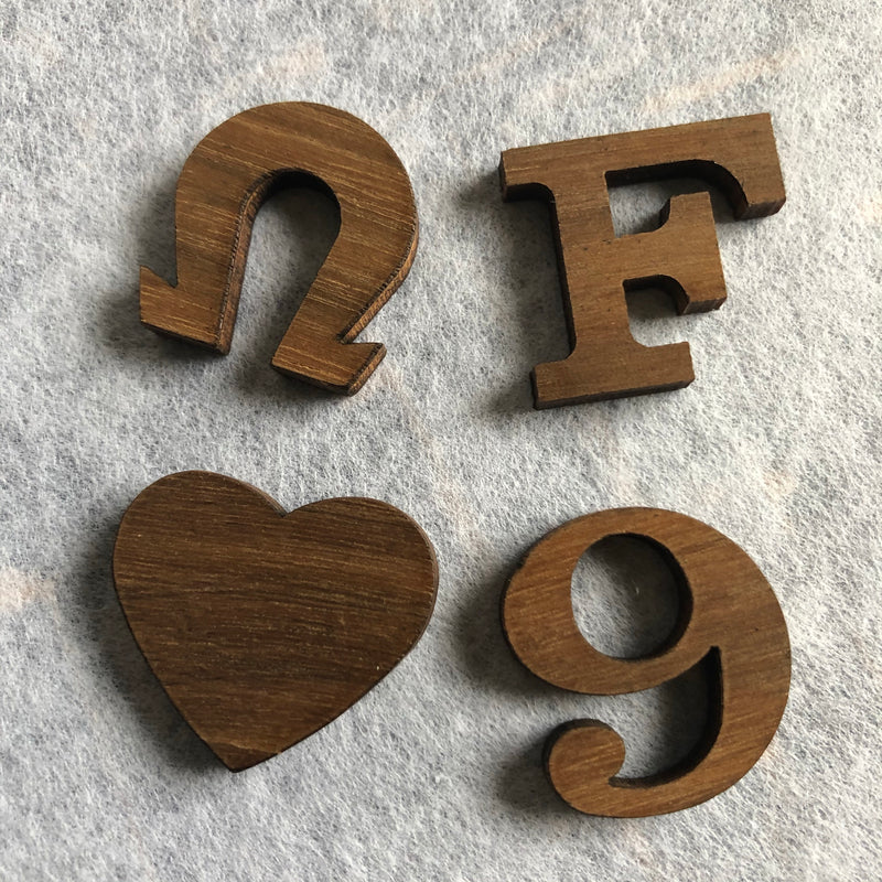 Wood Greek Letters, Alphabets, Numbers and Symbols 1 inch