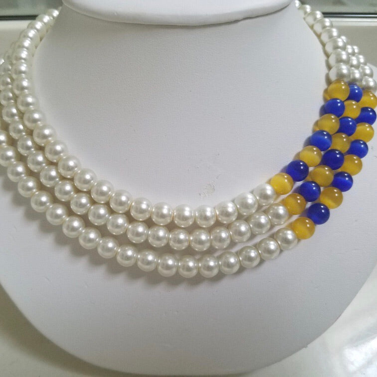 Three Strands Pearls with touch of Royalty and Gold