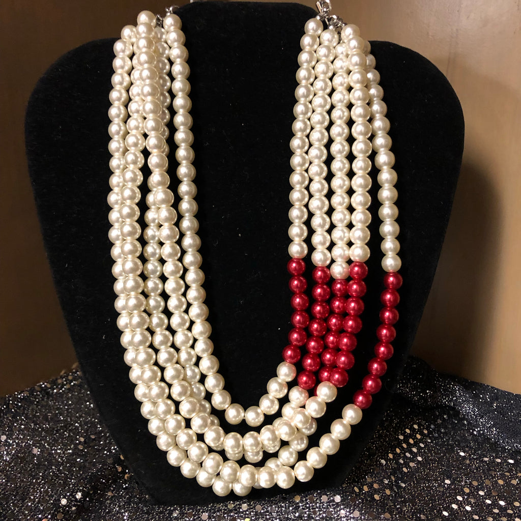 Five Strands Pearls with touch of Crimson with Pearl Earrings