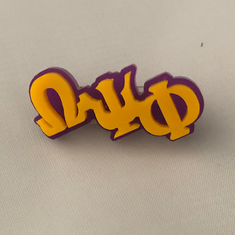 Omega Small Acrylic Greek Letters Lapel Pin