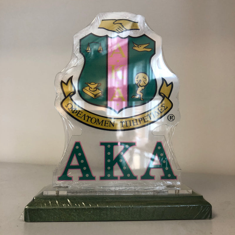 AKA Acrylic Desk Top Crest with Wooden Base