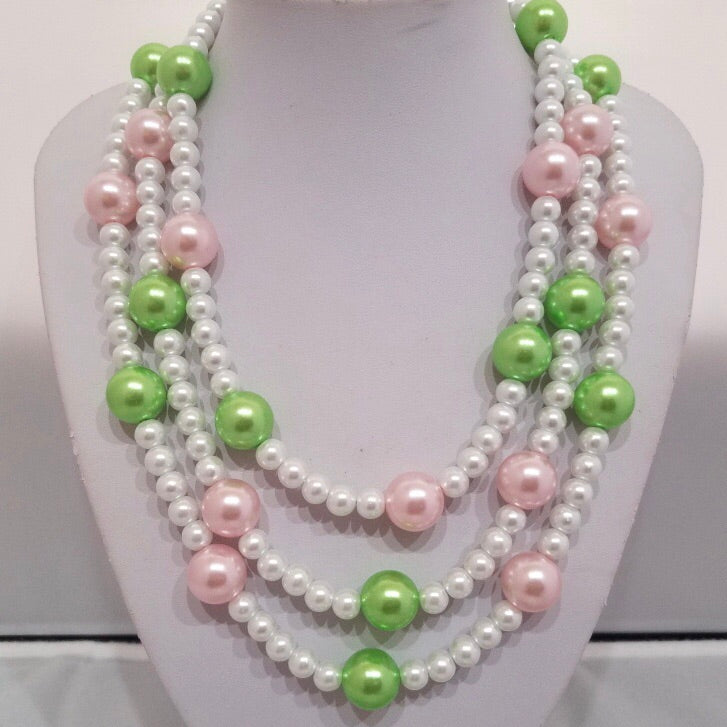 Pearls with touch of Pink and Green