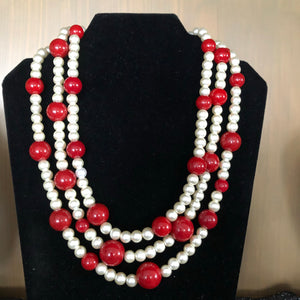 Pearls with touch of Crimson