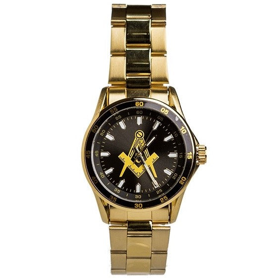 Mason Gold Steel Watch with Shield