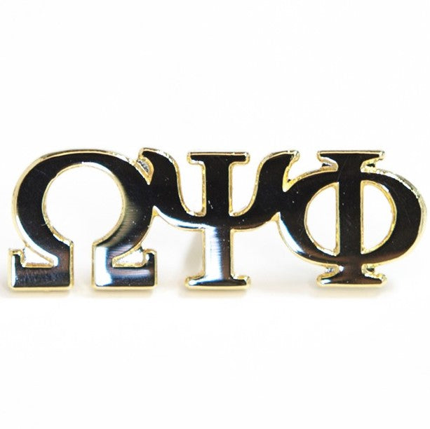 3 Letter Gold Lapel Pin - Omega