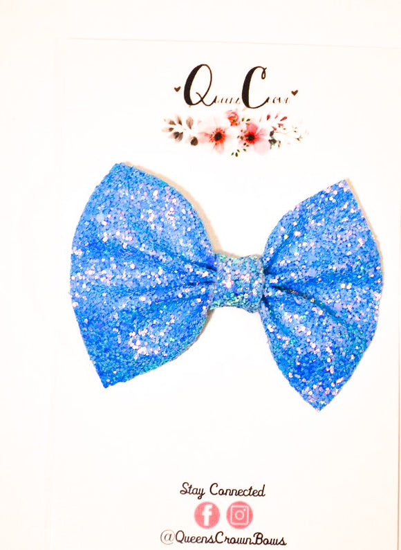 Periwinkle Glitter Square Pinch Bow