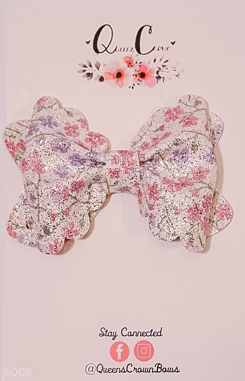 Spring Floral Scalloped Bow