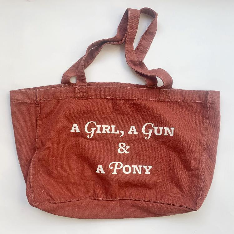 Canvas tote A girl a gun and a Pony