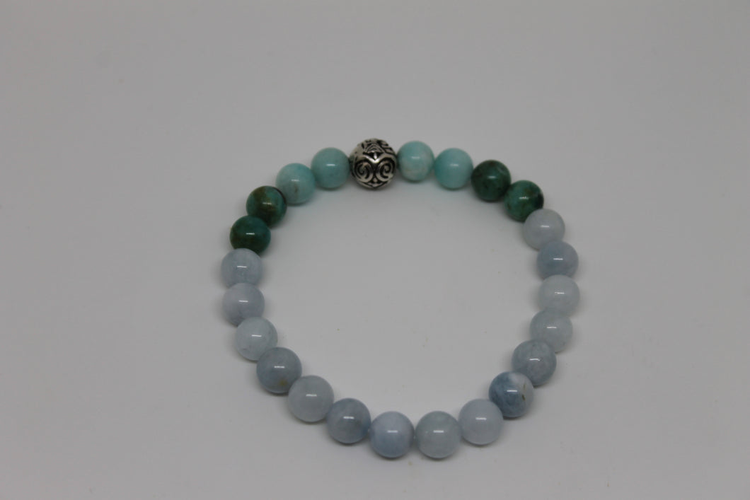 Amazonite - Aigue marine Howlite - bracelet goshö 8 mm