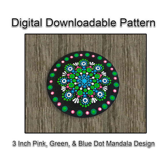 3 Inch Pink, Blue, & Green Dot Mandala Design