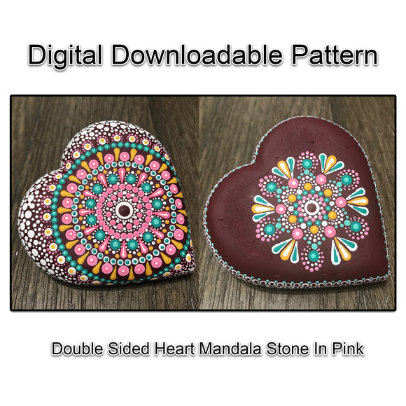 Digital Download - Double Sided Dot Mandala  Heart Art Stone Pink