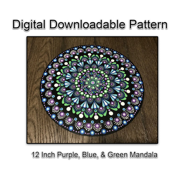Digital Download - 12 Inch Blue, Purple, & Green Dot Mandala
