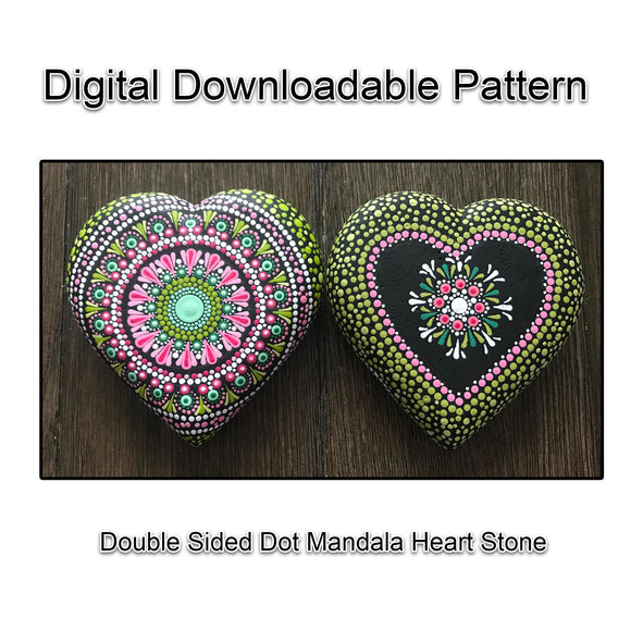Digital Download - Double Sided Dot Mandala Heart Art Stone