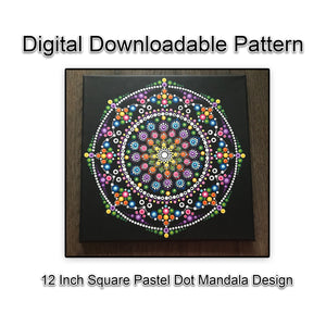 Digital Download - 12 Inch Square Pastel Dot Mandala Design