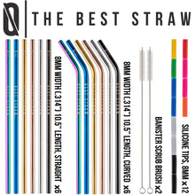 "BAR N0NE Best Straws Set of 12 | 10.5"" Long Wide Stainless Steel Metal Drinking Straws Full Variety Reusable Straight & Curved Cleaning Brushes & Silicone Tips Straw Brush Cup Drinks"