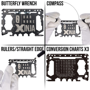 XINJA Butterfly Wrench Compass Rulers / Straight Edge Conversion Charts X3 Tool Examples
