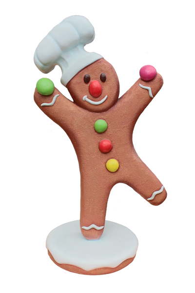 Gingerbread Man Chef 2 Cookie Display Prop Decor Statue - LM Treasures Life Size Statues & Prop Rental