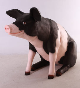 Sitting Black and Pink Pig Life Size Statue - LM Treasures Life Size Statues & Prop Rental