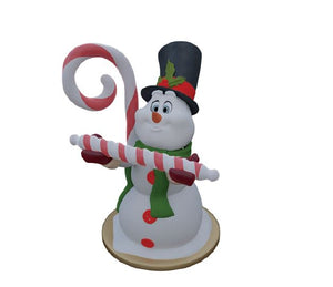 Snowman Candy Cane - LM Treasures Life Size Statues & Prop Rental