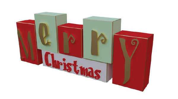 Sign Merry Christmas Boxes - LM Treasures Life Size Statues & Prop Rental