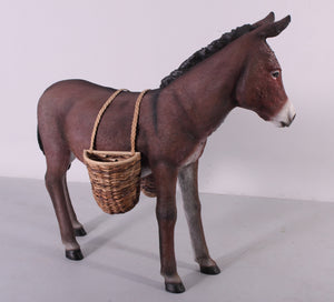 Brown Donkey With Basket Life Size Statue - LM Treasures Life Size Statues & Prop Rental