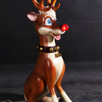 Funny Reindeer Sitting With Light Life Size Statue - LM Treasures Life Size Statues & Prop Rental