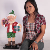 Small Sunny Elf With Two Gifts Life Size Statue - LM Treasures