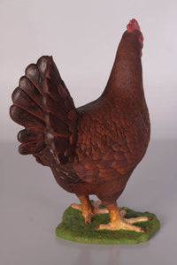 Red Chicken Life Size Statue - LM Treasures